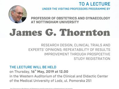 Invitation to the lecture of prof. James Thornton in the field of Obstetrics and Gynaecology